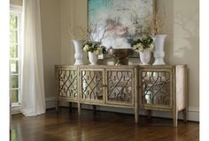 "$2599 105"" x 20"" x 38"" LR in front of window, or MBR under TV Sanctuary 105"" Mirrored Sideboard, Gold"