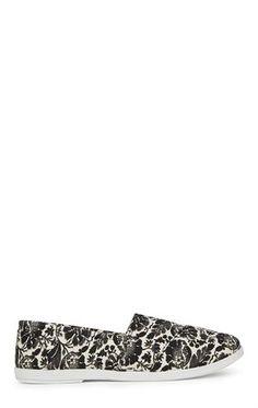Deb Shops Flat Floral Print Slip On Shoe