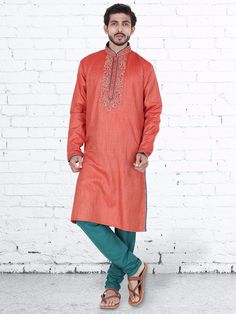 Red Cotton Silk Weadding Wear Kurta Suit