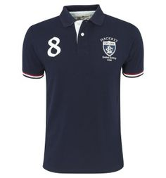 Head out to the Oxford and Cambridge Boat Race in this unique and stylish navy blue polo | London Rowing Club Appliqué Polo Shirt | 85