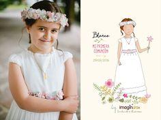 Ilustración personalizada dibujo niña comunión gipuzkoa