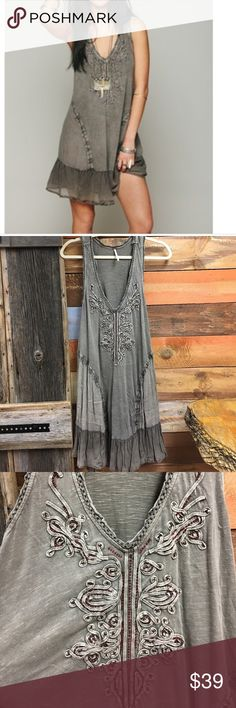Free People summer daze dress Free People summer daze dress.  Beautiful tiny red beading on front.  Intricate trim.  Raw edges.  Ruffle hem.  Excellent used condition. Price firm on this one! Free People Dresses