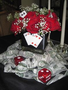 Host a casino night with fun casino party supplies from oriental trading. find casino theme party ideas and decorations to turn a poker party or fundraiser Fète Casino, Casino Table, Casino Cakes, Casino Royale, Casino Party Decorations, Casino Theme Parties, Party Centerpieces, Flower Centerpieces, Party Themes