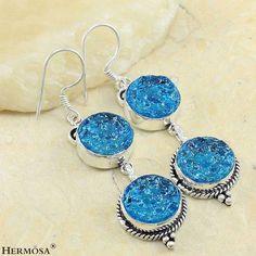 Aretes de Moldavita color azul (Plata ley .925 - Hermosa Jewelry), $329.00mxn