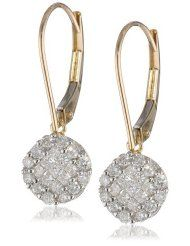 0.22 ct. tw. 10k Gold Flower Earring Jackets with Diamonds G-H,I2-I3 and Sapphire