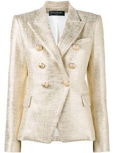 BALMAIN Double Breasted Gold Lame Jacket. #balmain #cloth #jacket