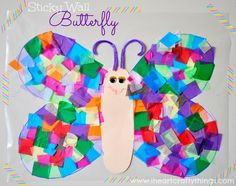 We had some Winter weather today which forced us to play inside this afternoon. I came up with this Contact Paper Sticky Wall Butterfly Craft to help entertain my daughter and it turned out to be Contact Paper Butterfly Craft, Contact Paper Crafts, Paper Butterfly Crafts, Paper Butterflies, Paper Crafts For Kids, Craft Stick Crafts, Preschool Crafts, Fun Crafts, Butterfly Mobile