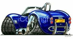 AC Cobra Muscle Car Cartoon Tshirt #4980