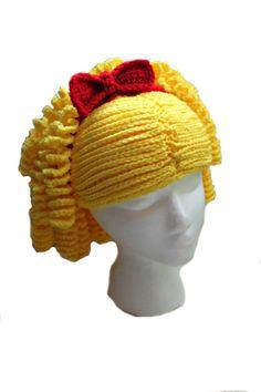 Curly Yarn Wig Hat by makinitmama - doll hair idea