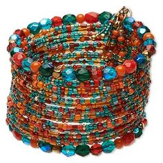 Colorful, fun and funky fashion bracelets are attention-grabbing on wrists and on counter displays. Colors can include orange, turquoise blue, turquoise blue AB, red and green. Wire Jewelry Rings, Memory Wire Jewelry, Memory Wire Bracelets, Beaded Jewelry, Handmade Jewelry, Beaded Bracelets, Boho Jewelry, Necklaces, Bracelet Fil