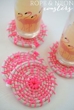 Rope and Neon Coasters cupcakes and cashmere. Would've great with navy rope too. Lime green thread. Or red.