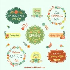 Cute spring sale badges Free Vector