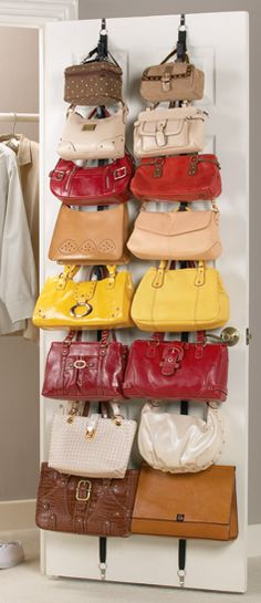 Handbag Storage Solutions teafondknee asked: Any advice on how to store purses and bags? I have a ton but haven't found a good way to store them! Another fabulous question! Purse storage can be tricky. Door Storage, Closet Storage, Storage Rack, Extra Storage, Closet Racks, Storage Organizers, Bag Closet, Closet Space, Shoe Closet