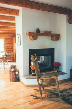 Thoughts from Alice: Log Cabin Home Tour: Living Room & Porch - with see through fireplace