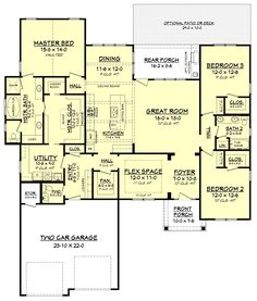 Craftsman Style House Plan - 3 Beds 2.5 Baths 2275 Sq/Ft Plan #430-159 Floor Plan - Main Floor Plan - Houseplans.com