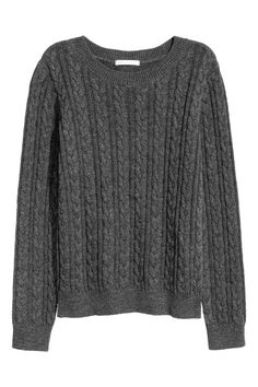 Cable-knit jumper: Cable-knit jumper in soft yarn with long sleeves and a stocking-stitch back section.