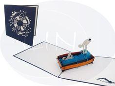 Aufklappbare POP UP Geburtstagskarte eines Schwimmers. Mehr entdecken auf: www.lin-popupkarten.de