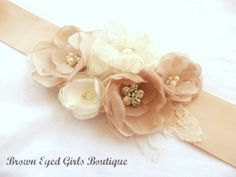 Blush Champagne and Ivory Bridal Sash by browneyedgirlsboutiq, $75.00