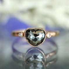 Black Rose Cut Diamond 14K Rose Gold Engagement by louisagallery, $980.00