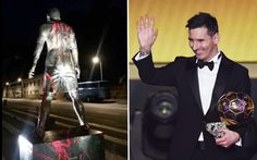 Cristiano Ronaldo statue vandalised by pro-Lionel Messi fans...