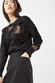 Luxe Velvet Mesh Knit Top - Clothing- Topshop USA