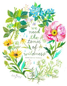 Tonic of Wildness Art Print Watercolor Hand Lettering image 0 Watercolor Hand Lettering, Watercolor Quote, Daisy Art, Anne With An E, Acrylic Artwork, Language Of Flowers, Mothers Day Quotes, Nature Quotes, Earth Day Quotes