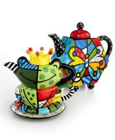Romero Britto Pop Art Teapots Frog Shaped & Hexagone Geo Shape w' Butterfly Design♥❤♥
