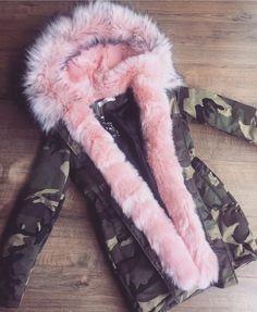 PREMIUM Camo Parka with Pink Chunky Fau-Fur Hood & Lining