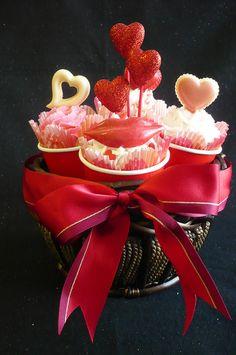 Valentine Cupcake Bouquet In Basket by Custom Cakes By Liz, via Flickr
