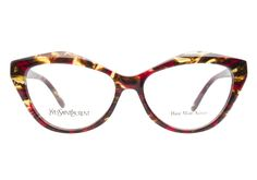 These Yves Saint Laurent YSL6370 PM4 Red Havana eyeglasses are uniquely fashionable. This hand made acetate frame has a funky red havana finish and a bold, exaggerated cateye shape. The matching templ from @Coastal.com