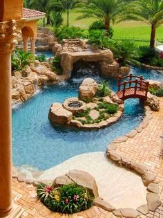 World's most gorgeous pools! Fire Features! Fire Pit! Outdoor Kitchen? Okay