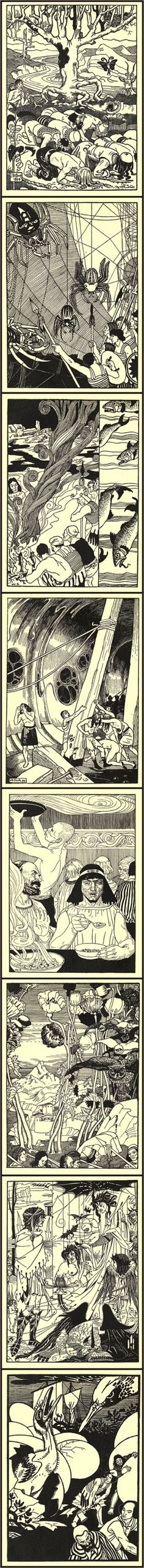 """Aubrey Beardsley: illustrations for the 1894 version of """"True History"""" by Lucian of Samosata, written in the 2nd c. BC, considered to be the first science-fiction story"""