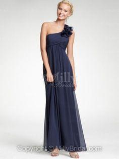Column One Shoulder Navy Chiffon Flower Floor-length Bridesmaid Dress at Millybridal.com