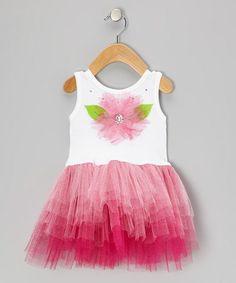 Look at this #zulilyfind! White & Pink Flower Skirted Bodysuit - Infant #zulilyfinds