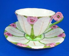 Rare Painted Pink Flower Handle Textured Atlas China Tea Cup and Saucer Set