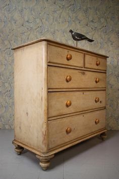 Original Painted Pine Antique Chest of Drawers