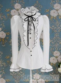 Tops High Neck Frilly Ruffle Womens Victorian Long Sleeves Shirt Blouse Career in Clothing, Shoes & Accessories, Women, Women's Clothing, Tops Cheap Blouses, Shirt Blouses, Blouses For Women, Satin Shirt, Ruffle Shirt, Ruffle Top, Blouse Vintage, Vintage Tops, Long Sleeve Tops
