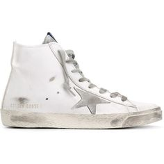 Golden Goose Deluxe Brand 'Francy' hi-top sneakers ($480) ❤ liked on Polyvore featuring shoes, sneakers, white, flat shoes, leather high tops, white sneakers, leather sneakers and white high top shoes