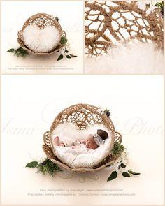 Beautiful Twine Circles Bowl - Newborn digital backdrop /background - JPG