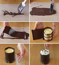 I dont like the Banana Bread Tiramisu idea..however..this is what got me interested in acetate sheets and chocolate!