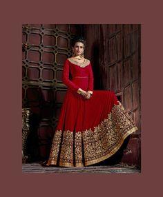Red Pure Georgette Floor Length Anarkali Suit 75361