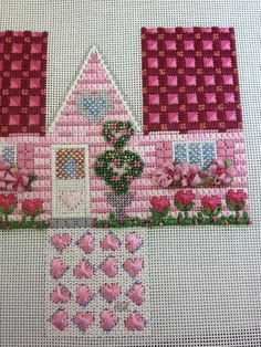 St Valentine's Day needlepoint 3-D house from steph