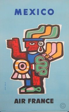 A vintage Air France travel poster for Mexico, by artist Colin Jean, 1957