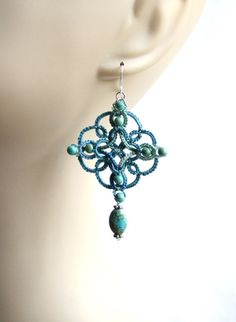 Celtic Knot Tatting Lace Blue Turquoise Bead Dangle by KnotTherapy