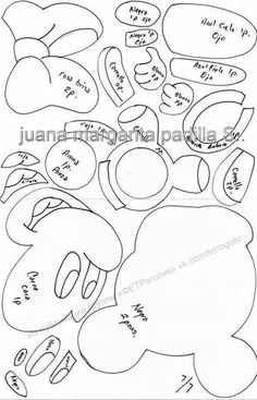 ФЕТРоголик (корейский фетр и фурнитура) Mini Y Mickey, Mickey E Minnie Mouse, Baby Mickey, Disney Diy, Disney Plush, Disney Crafts, Felt Patterns Free, Applique Patterns, Mickey Mouse Coloring Pages