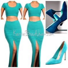 DOUBLE GLOSSED CROPPED TOP SKIRT SET