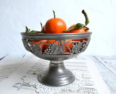 French Vintage Pewter Plate Fruit Bowl by shabbyfrenchvintage