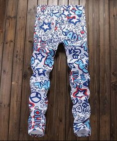 Men's Floral Slim Jeans Homme Energetic Print Men Personal Cotton Pant Trousers Euro Style Man Fashion Blue Jean  $10 off now untill Aug31 Promo Code: GadsMj10