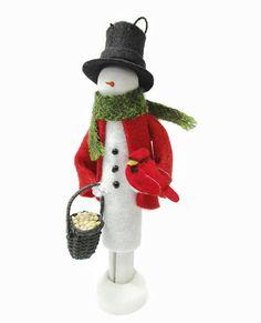 Snowman Christmas Ornament Snowman and Bird Clothespin Silver Christmas Decorations, Snowman Christmas Ornaments, Snowman Crafts, Craft Stick Crafts, Christmas Snowman, Christmas Crafts, Christmas Booth, Felt Snowman, Crochet Christmas