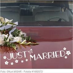 Autoaufkleber Hochzeit - Just Married floral 02